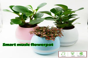 Led light playing smart touch music flower pot Bluetooth speaker