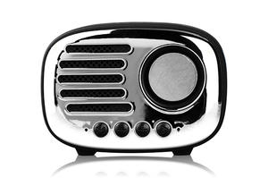 Factory Price Cheap Bluetooth Speaker Portable Sport Stereo Retro Radio Shape Mini Speaker With Electroplated Cover