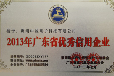 Outstanding Credit Enterprise of Guangdong Province