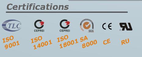 ISO 9001, ISO 14001, ISO 18001 SA8000, CE, RU