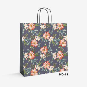 flower pattern white kraft bag HD-11