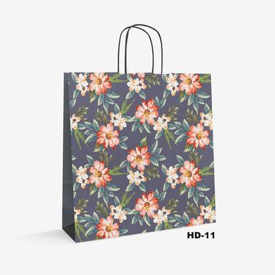 flower pattern white kraft bag HD-11