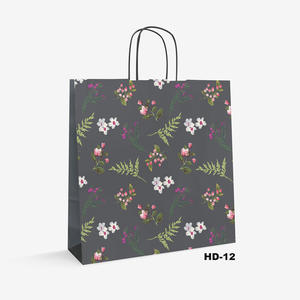 flower pattern white kraft bag HD-12