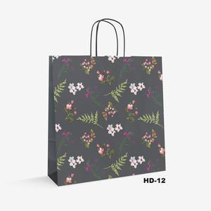 flower pattern white kraft bag HD-12