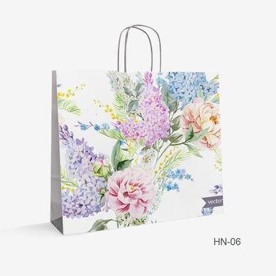 Printed flower Kraft bag HN-6