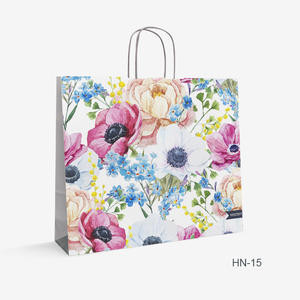 Printed White Kraft bag flowers HN-15