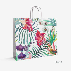 Printed White Kraft bag flowers HN-16
