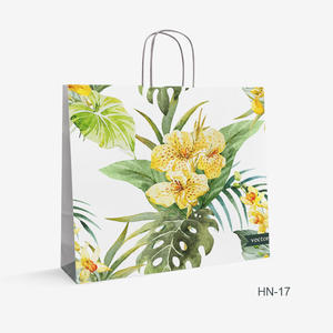 Printed White Kraft bag flowers HN-17