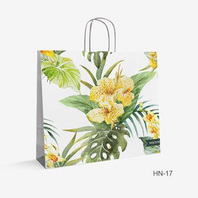 Printed White Kraft bag flowers HN-17