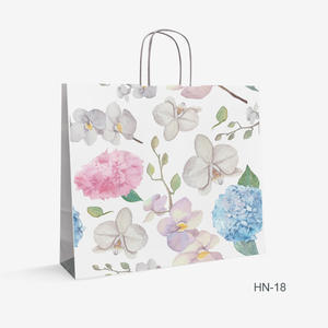 Printed White Kraft bag flowers HN-18