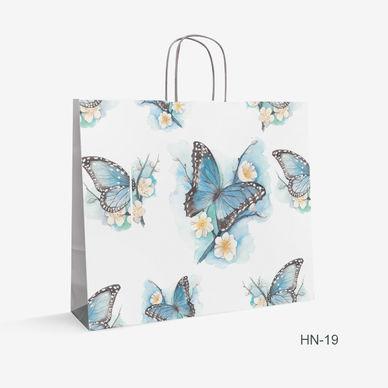 Printed White Kraft bag butterfly HN-19