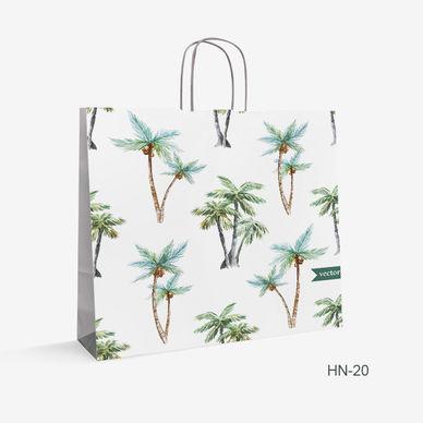 Printed White Kraft bag trees HN-20
