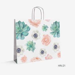 Printed White Kraft bag flowers HN-21