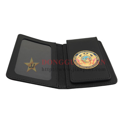 Leather wallets with badges