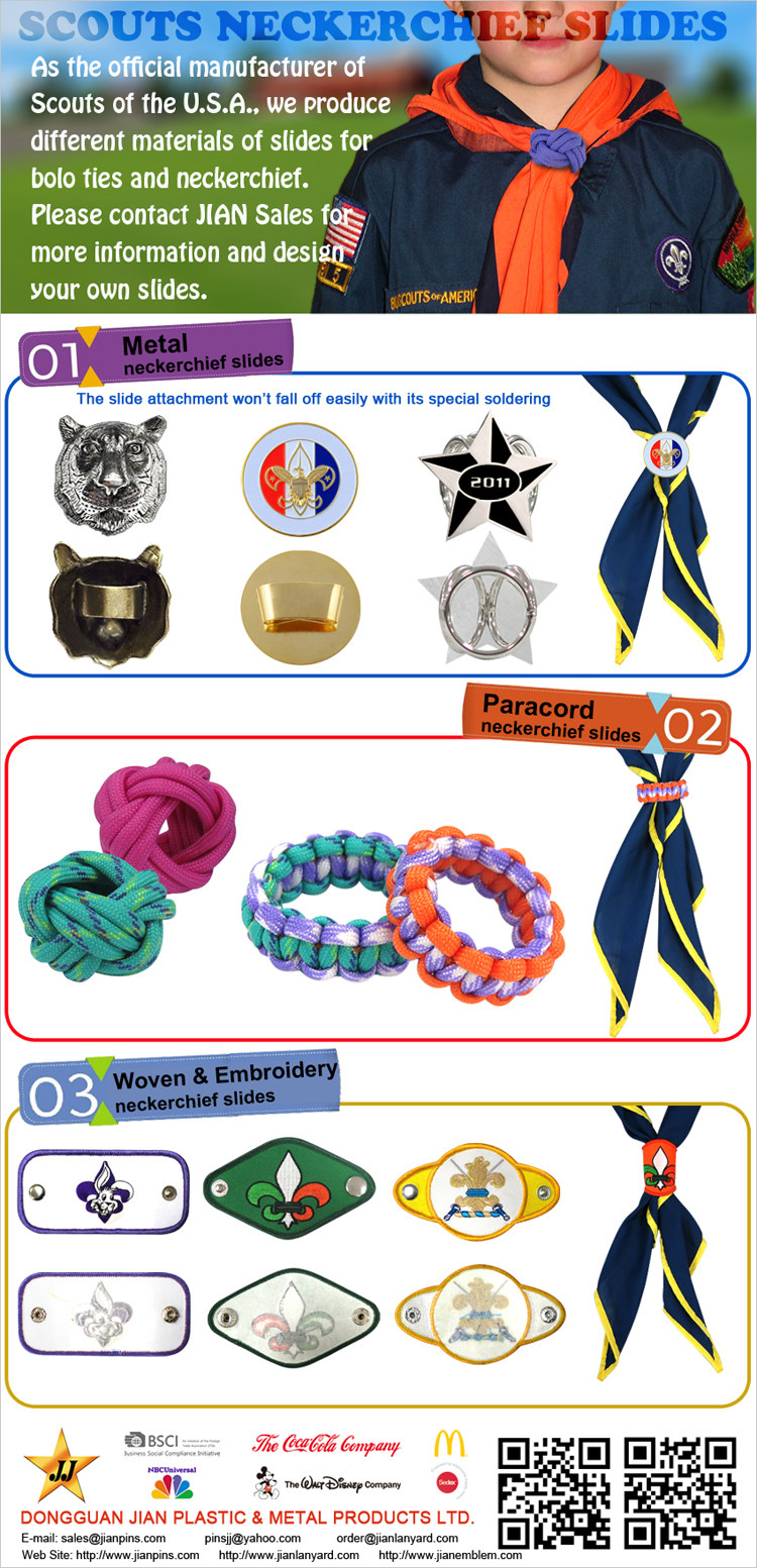 Various Designs for Scouts Neckerchief Slides