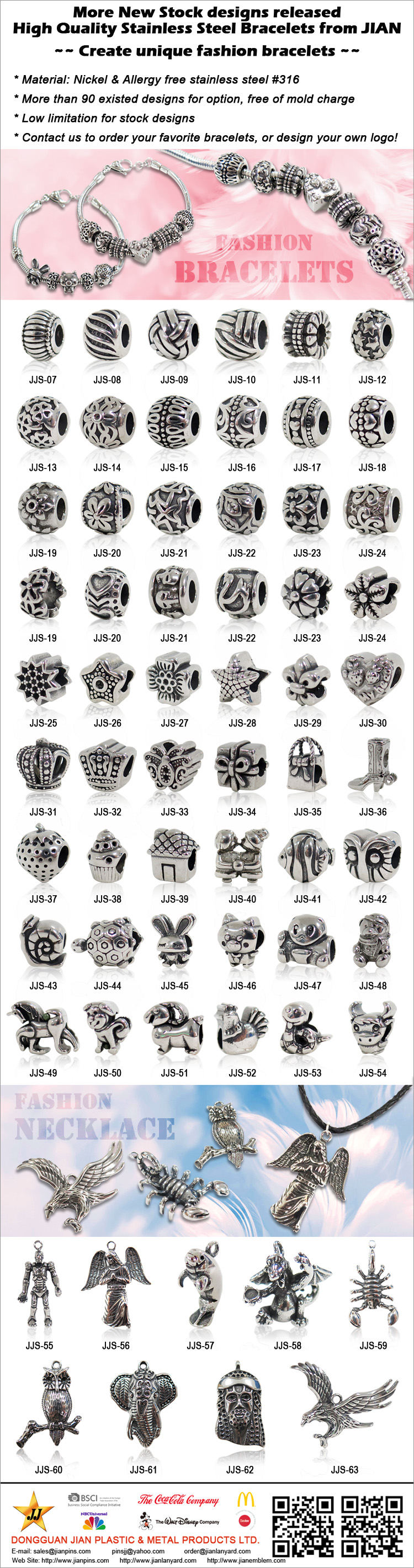 Bracelets et pendentifs en acier inoxydable de mode