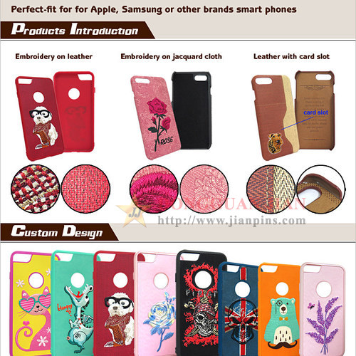 Fancy Embroidered Leather Cell Phone Cases