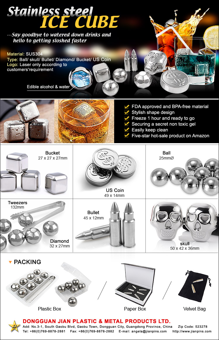 Stylish stainless steel ice cubes( FDA approved and BPA-free)