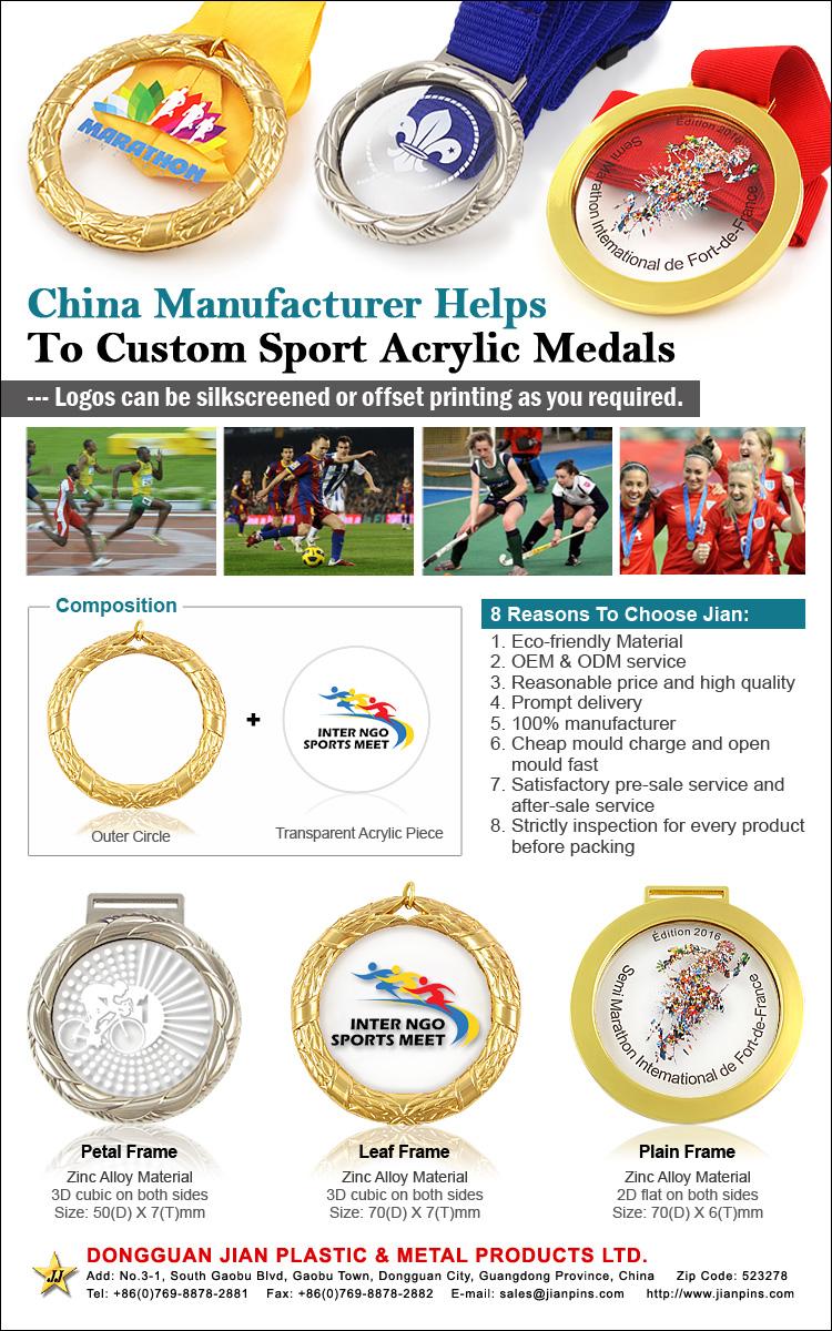 Nouvelles Médailles Acryliques gravées / embossées Médailles sportives de natation