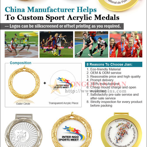 New coming Acrylic Medals engraved / embossed Swimming Sports Medals