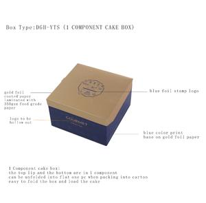 food grade paper material made foldable structure cake box in flat packing