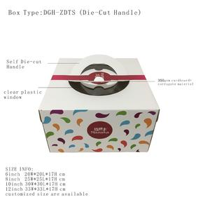 common style self die-cuted build-in paper handle cake box with clear windows