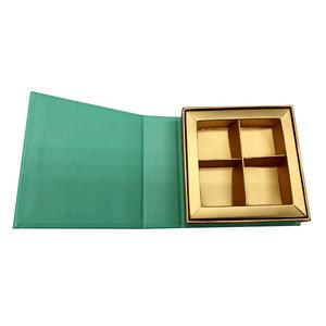 4 pcs load hand made luxury 4 pcs chocolate gift box with with golden paper divider