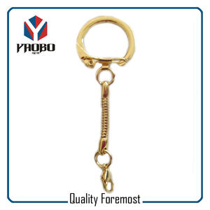 Gold Key Ring With snak chain,gold split ring with chain