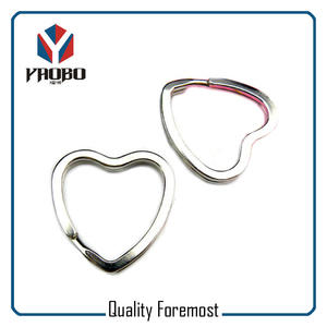 Silver Heart Shape Key Ring,iron heart split ring
