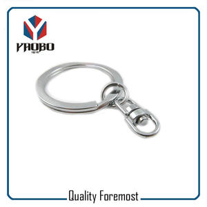 Flat Split Ring With Swivel,silver key ring with swivel