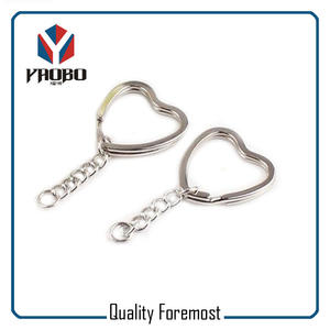 Heart Split Ring With Curb Chain,heart key ring with chain