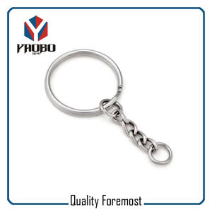 Split Key Ring With Chain,Split Ring With Curb Chain