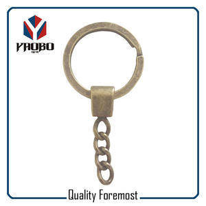 Flat Ring With Four Links,antique brass split ring key chain