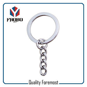 Flat Key Ring With Key Chain,silver flat split ring with chain
