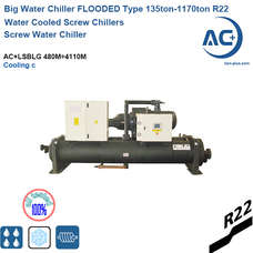 R22 Flooded type evaporator screw compressor water chiller