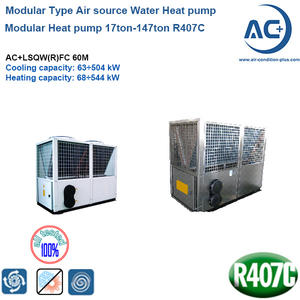 60 Modular Heat Pump 17ton-147ton R407C Scroll Compressor Air Heat Pump