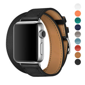 Wholesale Apple Watch Band Double Tour 38/42mm Leather iwatch Strap Replacement Band with Stainless steel Adpter Clasp for Iphone Watch Series 3 Series 2 Series 1