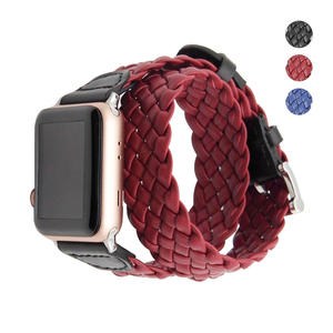 Leather Watchband 42mm iWatch Strap with Metal Clasp Replacement Woven Wrap Bracelet Band for iwatch Series 3/2/1 Sport Edition Men Women Double Tour Black Red