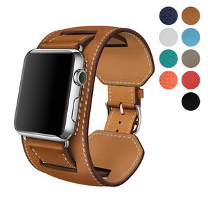 8 Colors for Apple Watch Series 3 Band, Premium Genuine Leather Strap Classic Replacement with Secure Buckle Adapter for iWatch Series 3/2/1/Edition/Sport 42mm 38mm