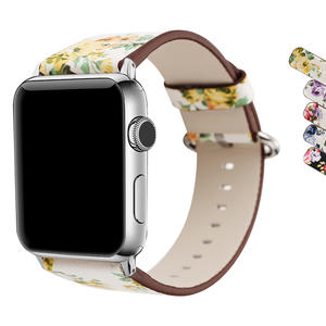 WAfeel Apple Watch Leather Band Single Tour Flower Printed Genuine Leather Strap for iWatch Series 1 & 2 &3