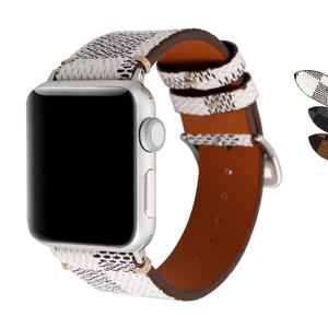 For Apple Watch Band 38mm,Classic Plaid Pattern Leather Band Strap with Stainless Metal Buckle for Apple Watch Series 3, Series 2, Series 1, Sport & Edition