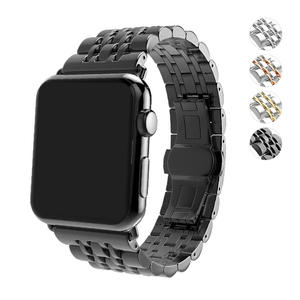 Stainless Steel Watch Band with Push Button Butterfly Clasp for Apple Watch Series 3 Series 2 and Series 1 38mm - Silver/Golden