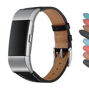 Fitbit Charge 2 Wrist Band,Leather Replacement Smart Watch Band Bracelet with Double Button Folding Clasp for Fitbit Charge 2