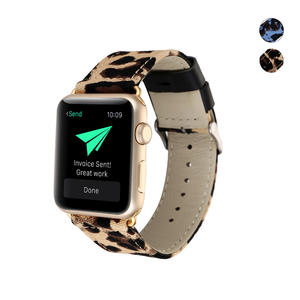 Replacement Strap for Apple Watch, Leopard Print Denim Stainless Steel Metal Clasp Buckle Comfortable Watch Band for Apple Watch Series 3/2/1​