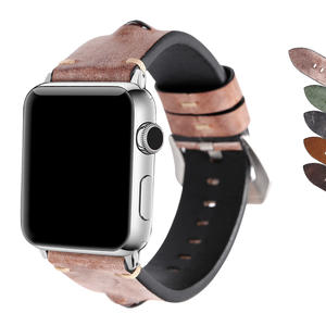 For Apple Watch Band 42mm,42mm Handmade Vintage Calf Genuine Leather Strap Wrist Band with Secure Metal Clasp Buckle for Apple Watch Series3 Series 2 and Series 1