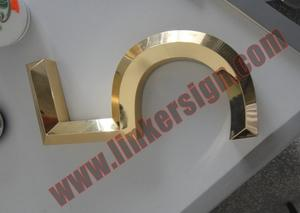 3D face letter signage with electroplating gold