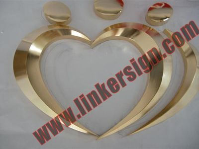3D logo signage electroplating gold on the face