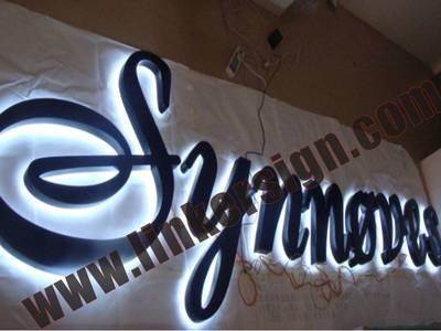 black face and white leds back lighted advertising letter signage