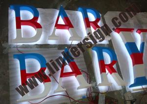 stripe painted face back lighted letter signage for shop front advertising