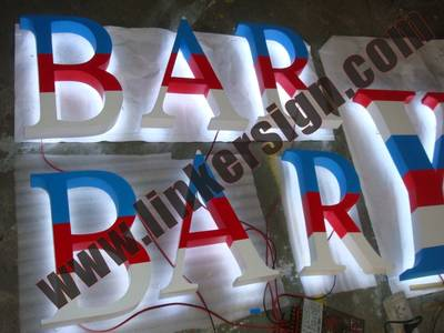 stripe painted face back lighted letter signage